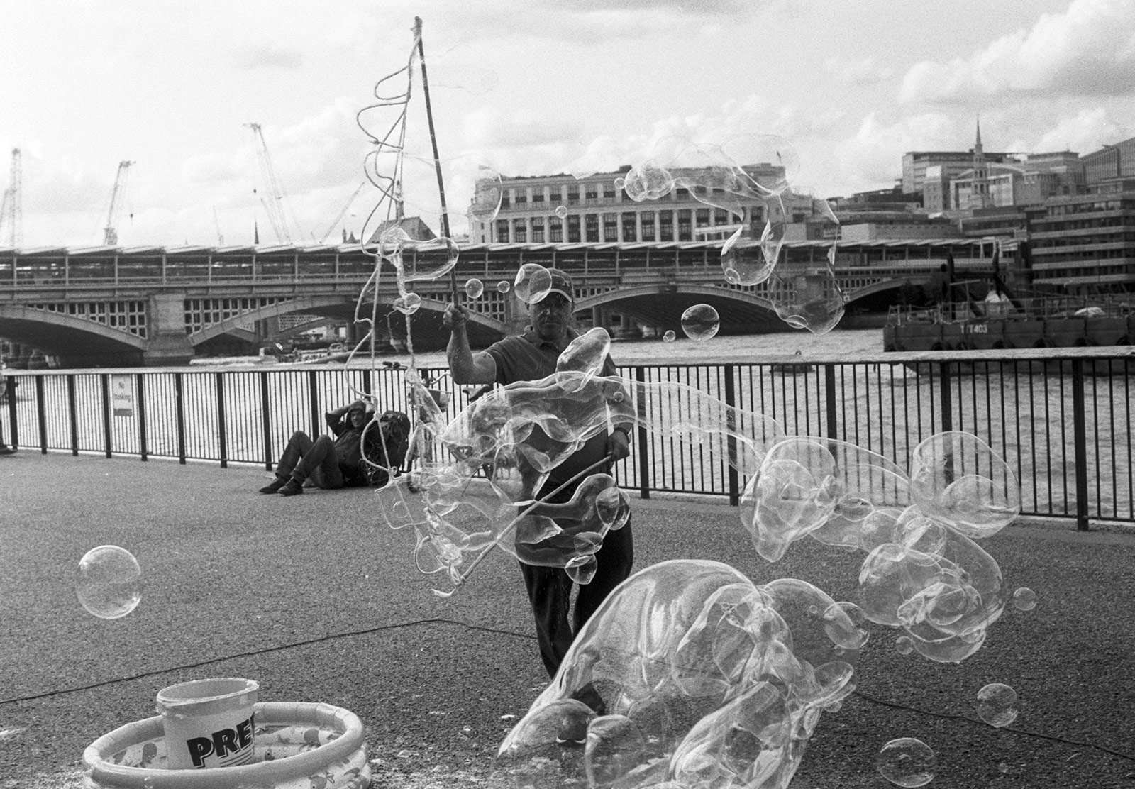 Man making bubbles
