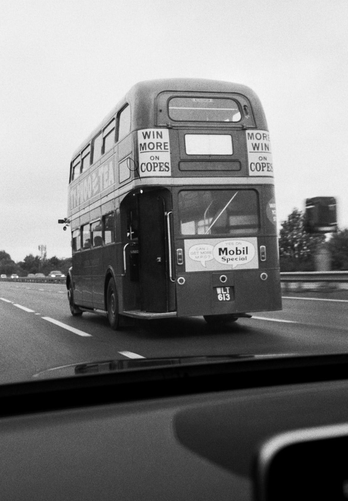 Old bus on motorway
