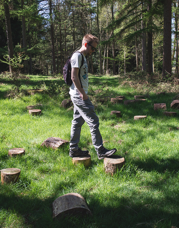 Man stepping on tree stumps