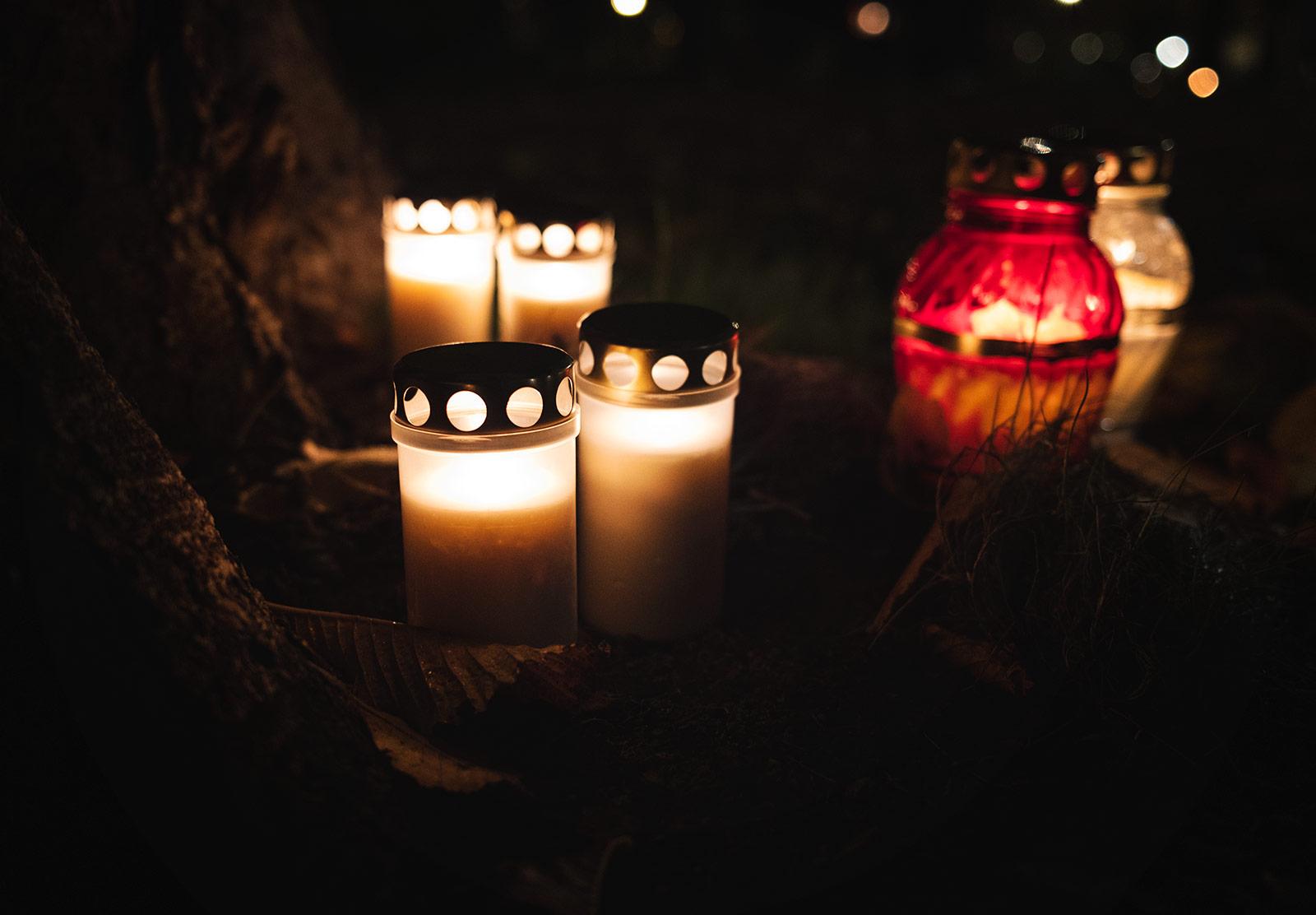 Candles at base of tree