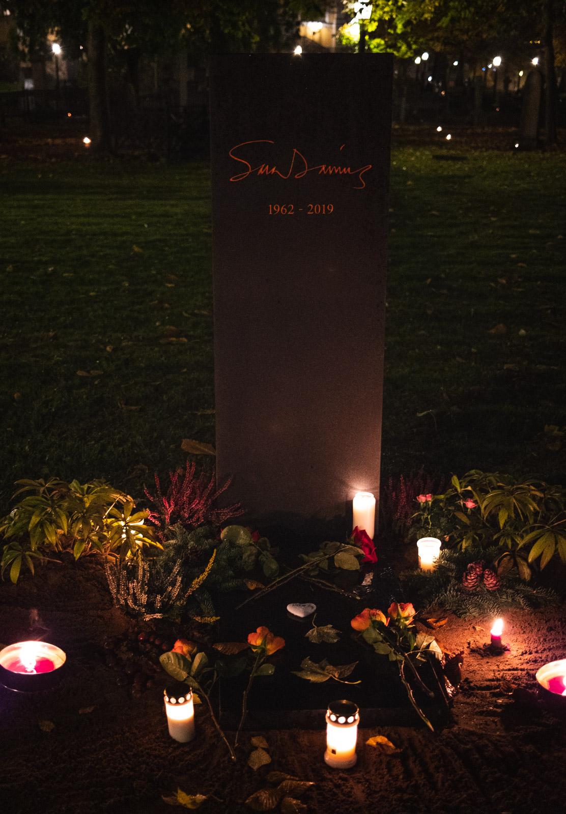 Candles around grave