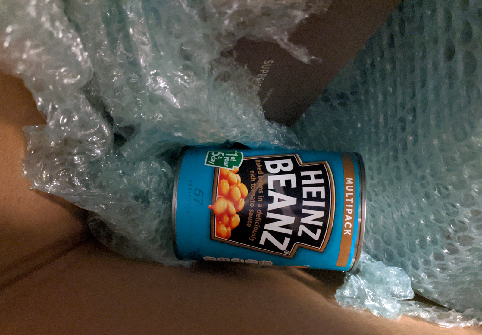 Baked beans in box