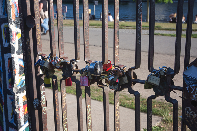 Padlocks on gate