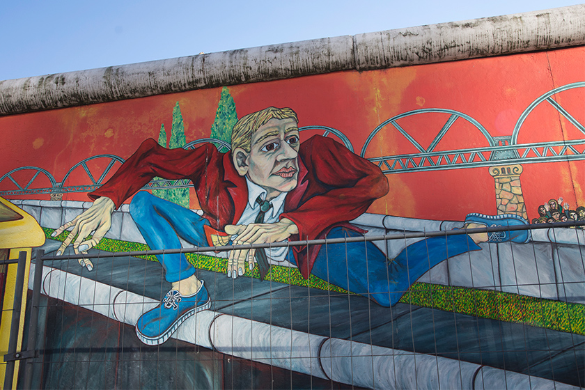 Mural of man on wall