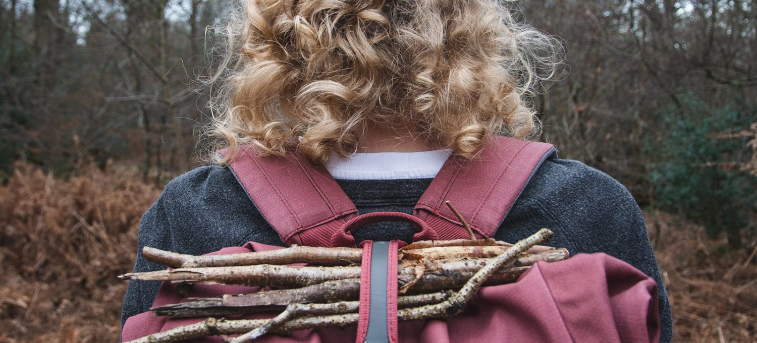 Twigs in rucksack