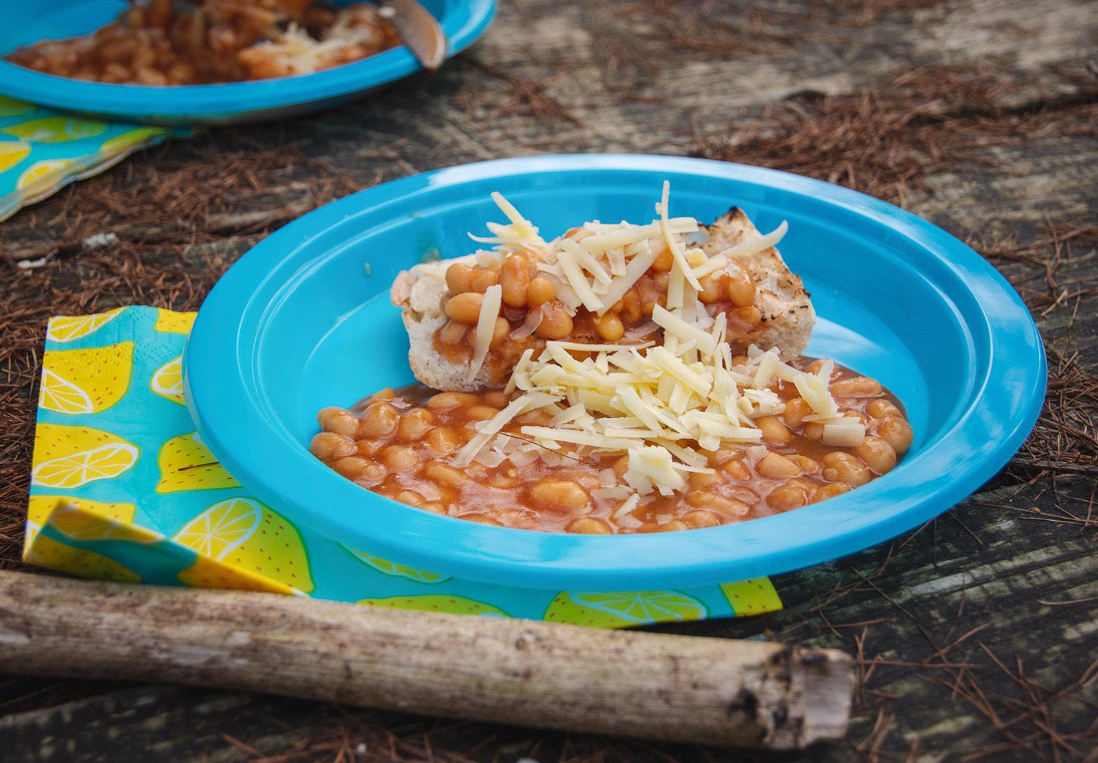 Beans on toast on plate