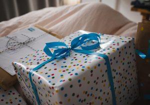 Blue ribbon on present