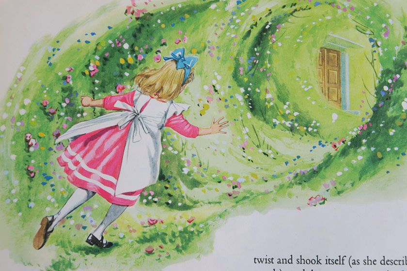 Illustration of Alice in garden