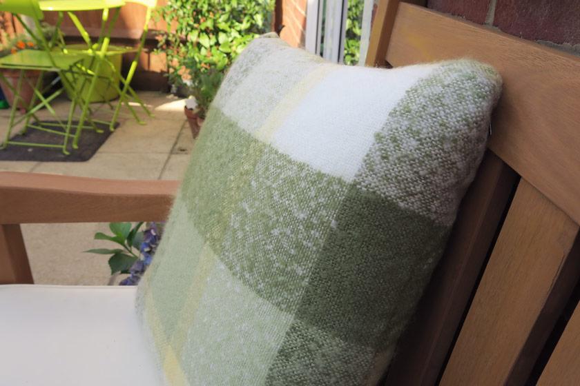 Green tartan cushion