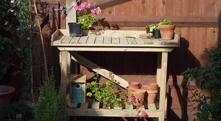 Potting bench in the sun