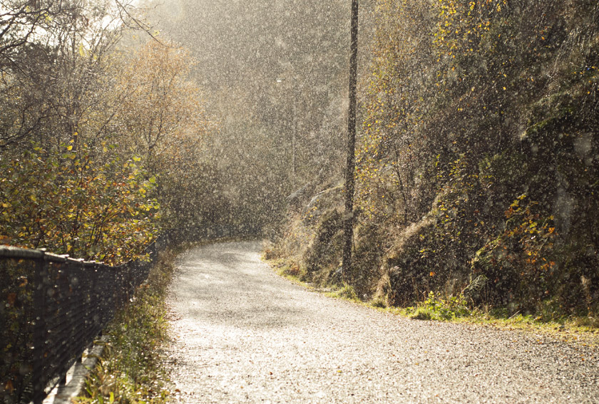 Rain and sun on mountain path