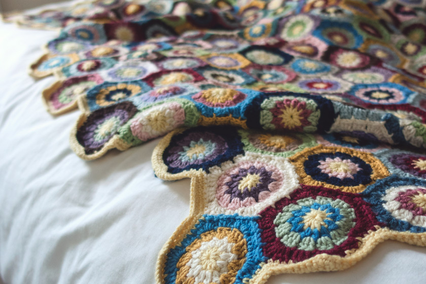 Multicoloured crochet blanked