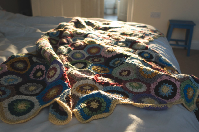 Crochet blanket in the sun