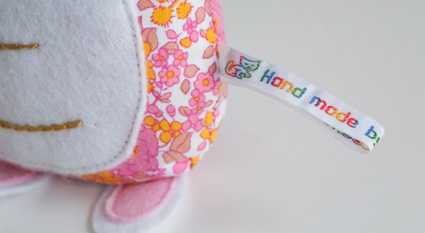 Handmade tag on soft toy