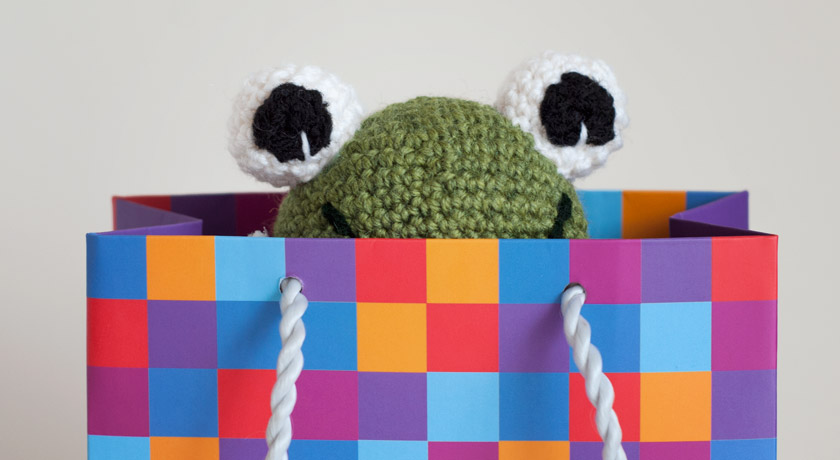 Green crochet frog