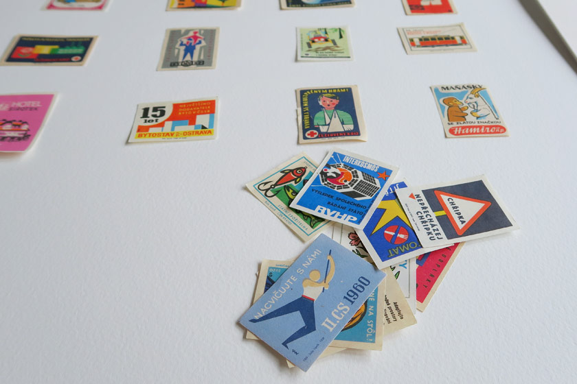 Pile of illustrated cards