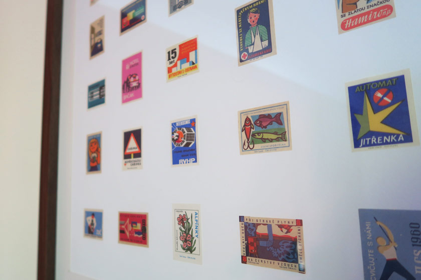 Matchbox cards arranged in frame