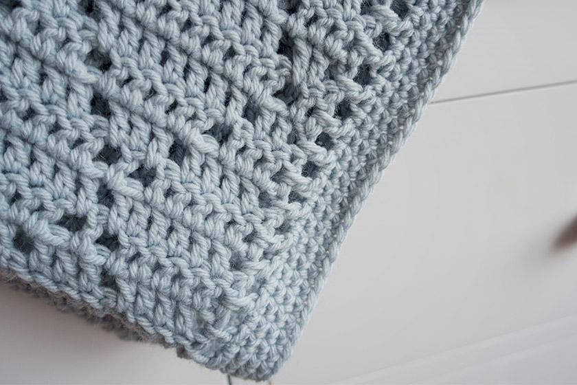 Closeup of crochet diamond