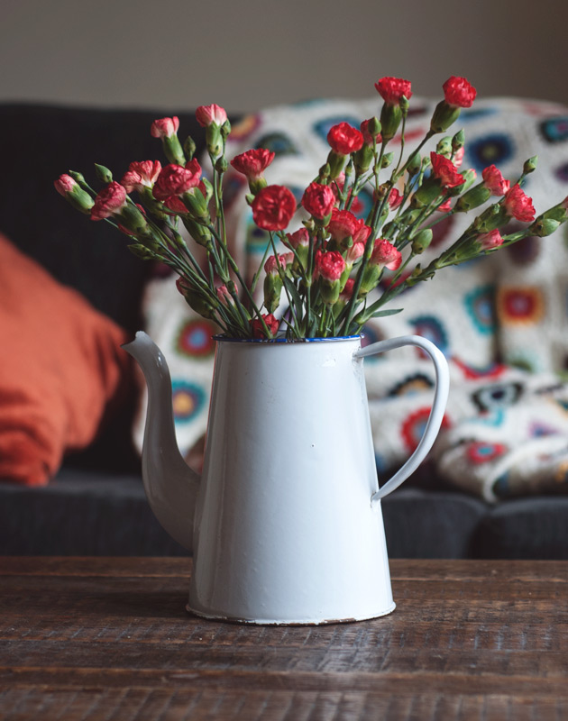 Red flowers in white jug