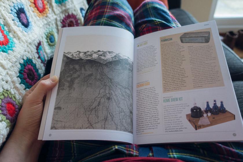 Magazine on lap