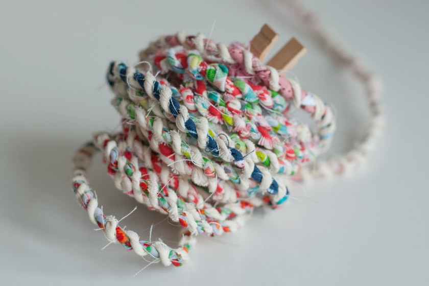 Ball of scrappy fabric twine