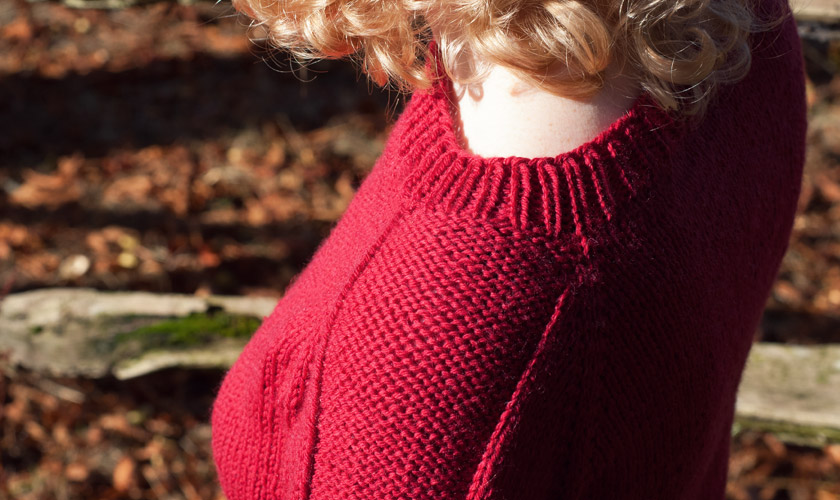 Red Flax pullover with neckline detail