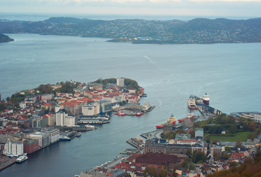 View over ocean and the city of Bergen