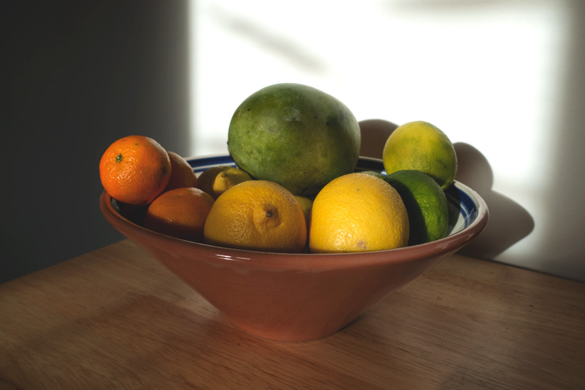Fruit bowl in the sun