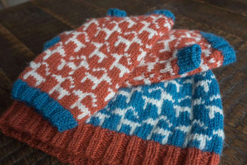 Knitted hat and gloves