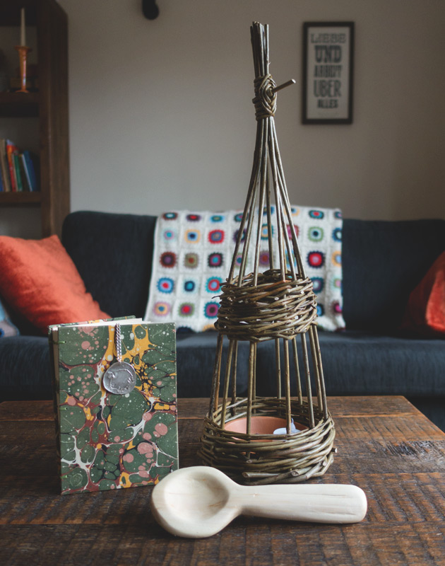 Book, lantern and spoon