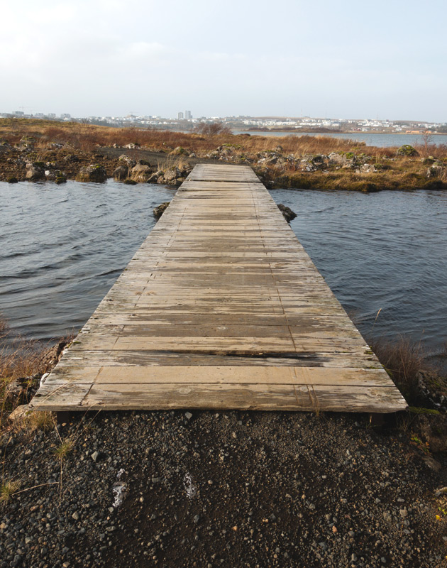 Wooden bridge over water