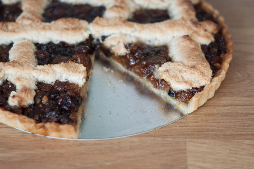 Slice cut from mincemeat tart