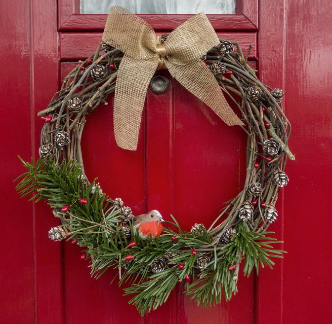 Natural wreath on door