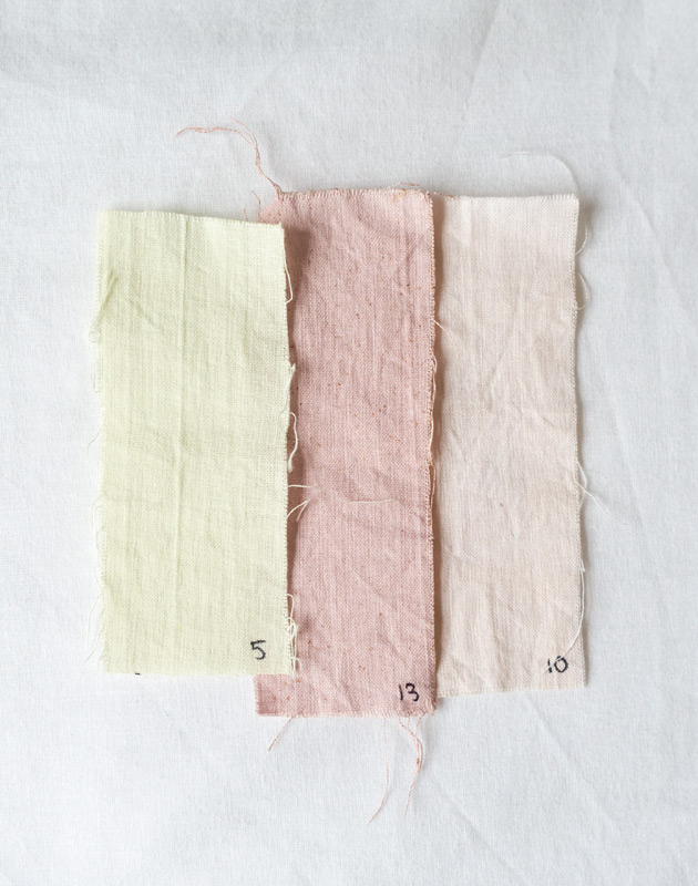 Pink and green fabric swatches