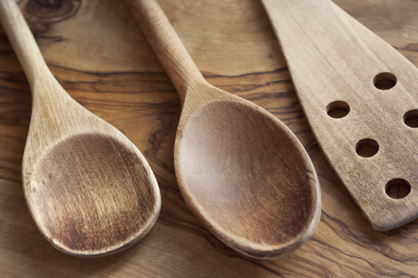 Shiny, oiled wooden spoons