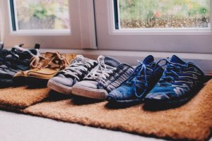 Shoes on mat