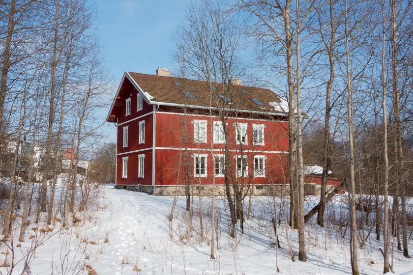 Red wooden house