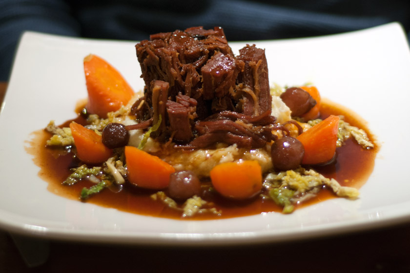 Braised brisket of beef on plate
