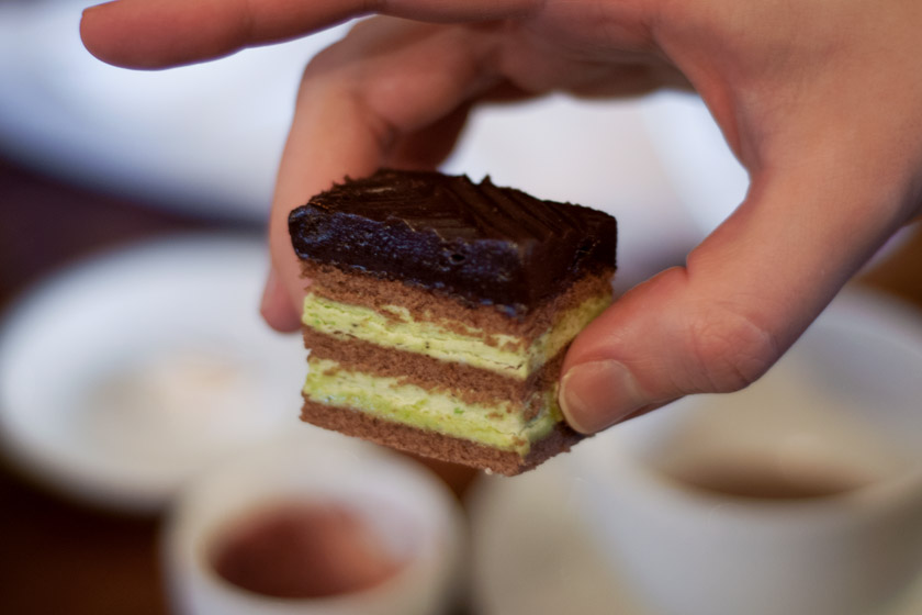 Layered chocolate and pistachio cake