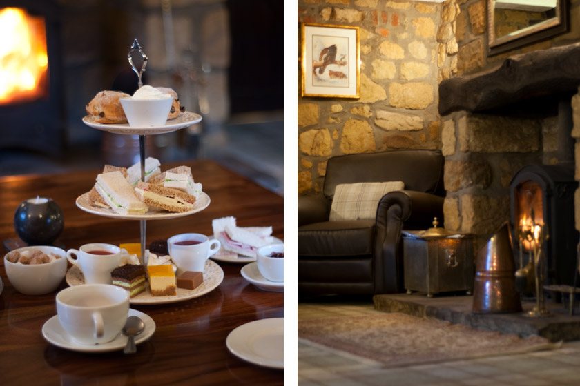Afternoon tea in front of log fire