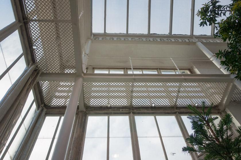 Metal glass house interior
