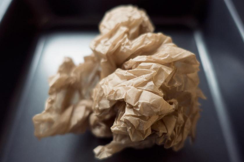 Scrunched baking parchment