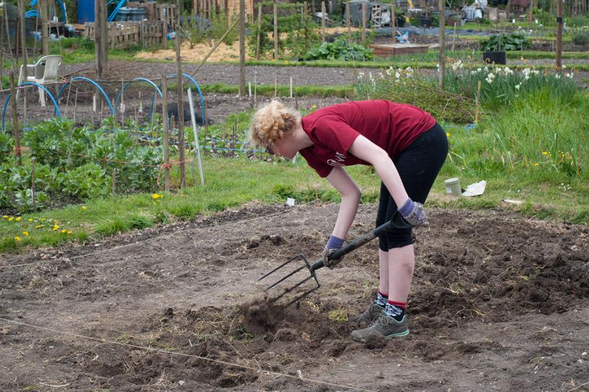 Me digging soil