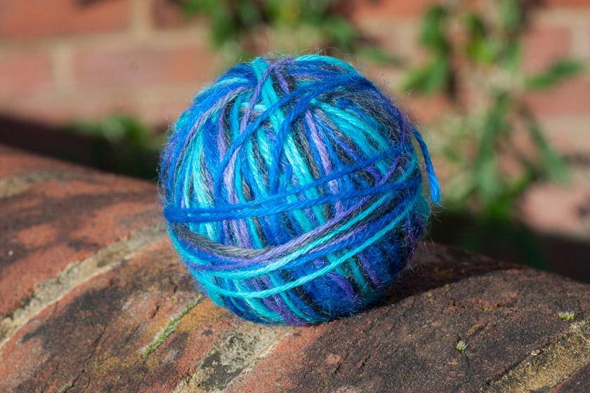 Bright blue ball of yarn