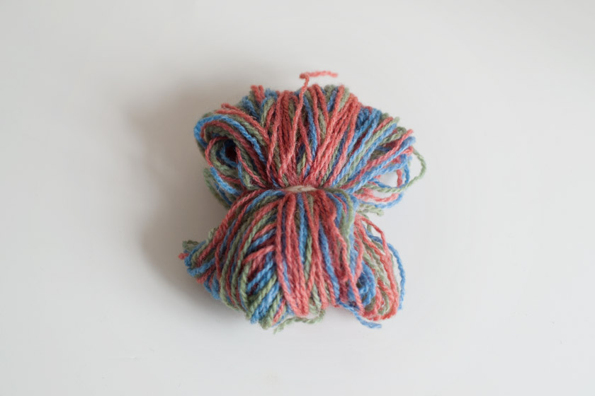 Wool tied into ball