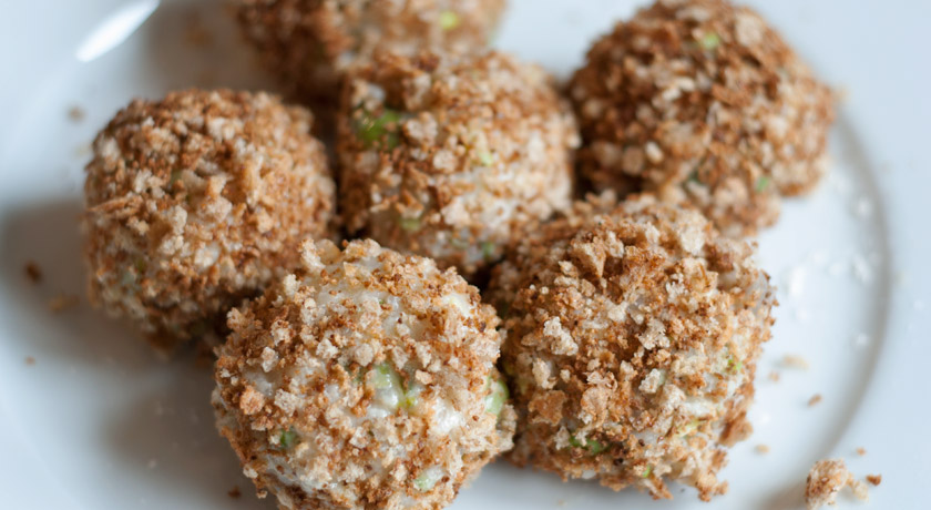 Risotto balls in breadcrumbs