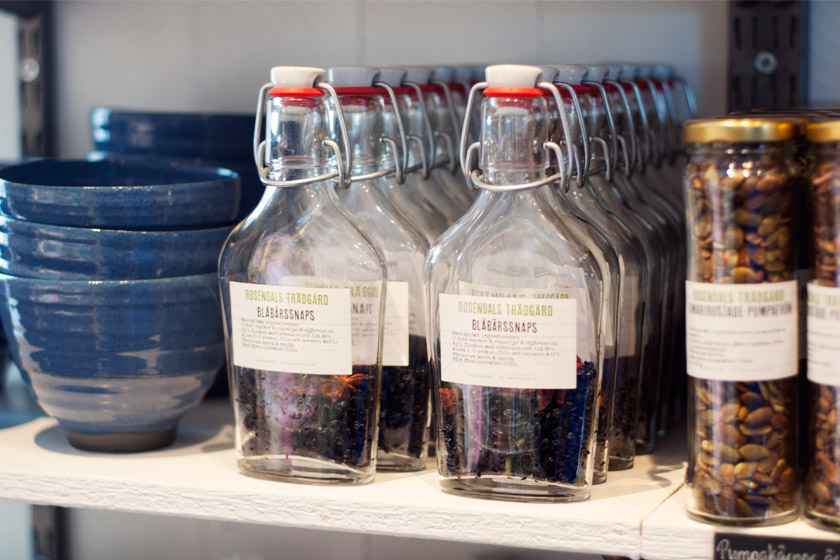 Preserving bottles on shelf