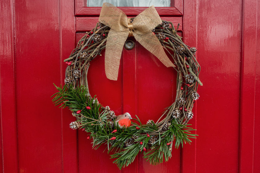 Wreath on red front door