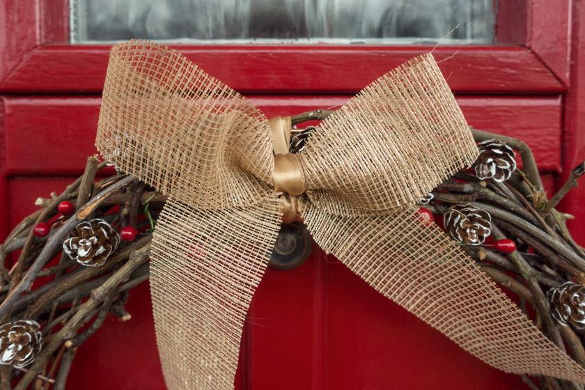Closeup of hessian bow