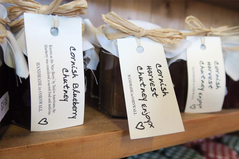 Jars of Cornish jam on shelf